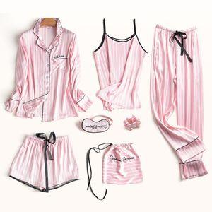 잠옷 세트 여성 실크 여름 섹시한 꽃 잠옷 섹시한 여성 긴 소매 셔츠 바지 세공 스티치 란제리 스트라이프 잠옷 LJ200921