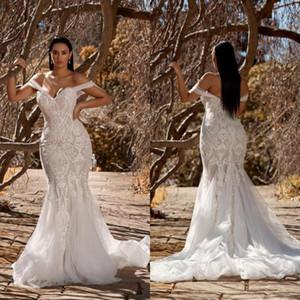 2021 Artı boyutu Denizkızı Gelinlik Omuz Dantel Aplikler Country Style Elbiseler De mariée Sweep Tren Trompet Gelinlik Kapalı