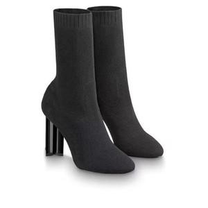 Designer Shoes Scarpe Donna Silhouette Stivali bassi di stirata del nero tessile Martin stivali tacco alto calzino stivali ricamati signora vestito con la scatola