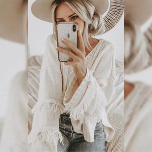 borla solta do N0pRo 2019 New Women 2019 Nova Mulheres solto borla pullover pulôver camisola