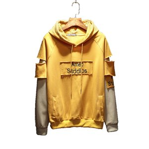 2018 Spring Fall New Design Patchwork Youth Hooded Long Sleeve Men's Japanese Style Hip Hop Hoodie Plus Size M-5XL