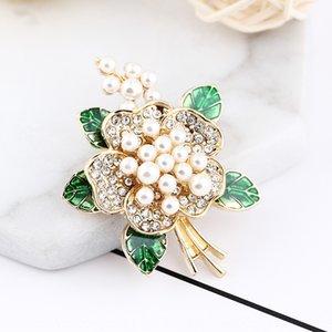 Verde dripping spilla di diamanti a olio del fiore spilla di perle perla pin high-end tutto-fiammifero spilla per le donne