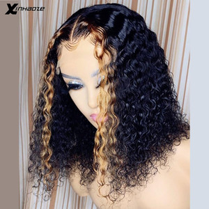 Resalte mojado y wave bob bob pelucas 150 densidad coloreado cabello humano 13x4 profundo onda de agua profunda bob bob cordón frente cabello humano pelucas