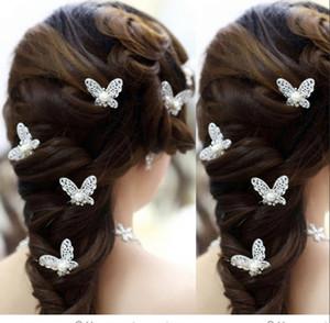 Yeni Kelebek 20PCS Bling Düğün Aksesuarları Gelin İnci Tokalar Çiçek Kristal Rhinestone Saç iğneler Klipler Nedime Kadınlar Saç Takı