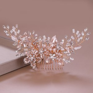 FORSEVEN Luxury Sparkling Hair Combs Handmade Rhinestone Rose Gold Women Hair Pin Bride Headpeice Wedding Jewelry JL