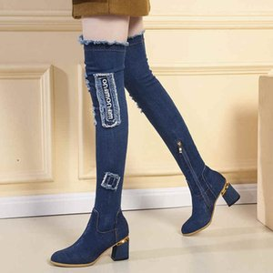 Denim Women Boots Plus Sizes Winter Boots for Women Over-the-Knee Shoes for 2020 Thigh High Boot Pointed Lady Footwear B7