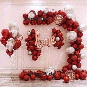 108pcs Granatapfel Red Balloon Garland Arch Kit Liebe Folie Goldsequin Confetti Transparent Luftballons für Hochzeit Party Supplies