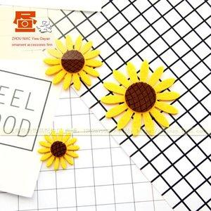 Kore tarzı yumuşak sevimli ayçiçeği tarzı bez çıkartmaları el yapımı malzemelerdir DIY aksesuarları ayçiçek JG0274 Diy yapışkan kağıt Aksesuar sopa