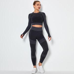 Autunm inverno Fashion Designer Womens Yoga Suit Sportwear Tute Fitness Sports a due pezzi Set 2 pezzi Leggings manica lunga abiti gymwear
