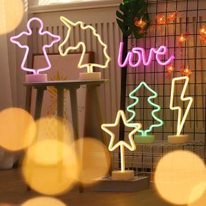 Xmas Holiday Party LED Neon Sign Luz casamento romântico decoração da sala dos miúdos Home Decor Flamingo Lua do unicórnio do coração