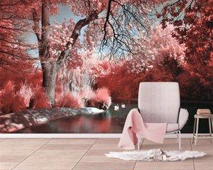 3d Seascape Duvar Kağıdı Pembe Güzel Orman Gölü Su Swan Dekoratif Boyama Romantik Manzara Dekoratif İpek Duvar Duvar kağıdı 3d