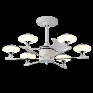 La conversión de frecuencia remoto aficionados control de silencio Nordic Light Modern Creatividad 33 pulgadas dormitorios casa de acrílico ventiladores LED de la lámpara pendiente