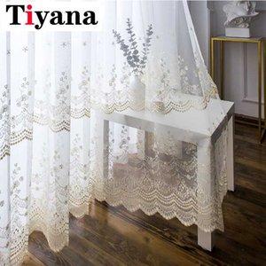 Tiyana Rustico ricami floreali Tende pure per il trattamento Soggiorno Fiore Voile Finestra tendaggi per Porte a vetri JK018Y