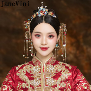 JaneVini Vintage Bridal Hair Sticks Tassel Pearl Bride Headband Chinese Style Headwear Women Wedding Hair Pins Jewellery 2020