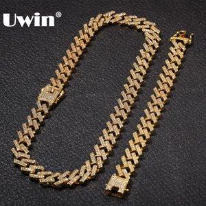 UWIN NE + BA Mode Bijoux Bracelets Colliers 15mm mode de couleur d'or Glacé 2 rang Prong Chaînes de Cuba Lien pour Hommes Femmes T200824