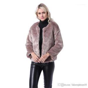 Agasalho Moda Mulheres Coats Mulheres Faux Fur Coats Moda Outono Inverno New Arrival Tripulação Designer Neck