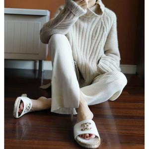JVEII 2020 nuevas mujeres suéteres de cuello alto de cachemira mujeres de la moda jersey de punto suéteres tapas flojas estilo europeo