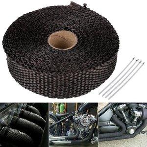 NEW Рулон стеклоткани Выпускной коллектор Headers трубы жары Wrap Tape Blacks + 4 Ties Kit Heat Shield Мотоцикл Выхлопная Магистральные трубы