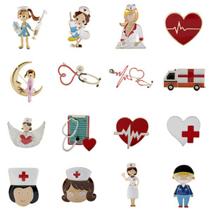 Kalp Rhinestone Hemşire Tıp Doktoru Sembol Emaye Melek Hemşire Şekli Çekilebilir Rozet Yaka Kartı Reel Klip