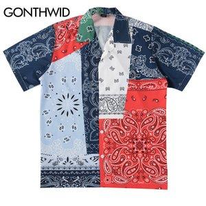 GONTHWID Hip Hop anacardo impresión de las flores del bloque del color del remiendo de la playa Aloha camisas hawaianas Streetwear verano Camiseta de manga corta Top