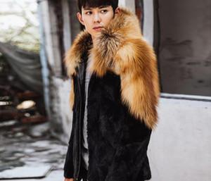 Autumn faux mink leather jacket mens winter thicken warm hooded fur leather coat men slim jackets jaqueta de couro black S -01