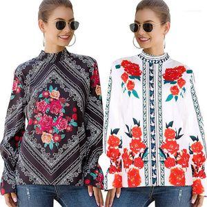 Abbigliamento estivo progettista delle donne stampa floreale Camicie collare del basamento della Rosa Lanterna corte Maglia Casual Tshirts Womens