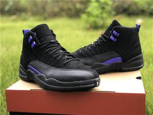 Autentici 12 scarpe scure Concord basket maschile Nero Viola reale Carbon Fiber Sport Sneakers CT8013-005 NakeskinGiordaniaRetro