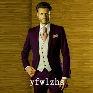 Classic One Button Handsome Groomsmen Peak Lapel Groom Tuxedos Men Suits Wedding Prom Best Man Blazer ( Jacket+Pants+Vest+Tie) W530
