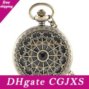 청동 골동품 스파이더 웹 중공 석영 회중 시계 펜던트 목걸이 여성 남성 시계 우아한 아날로그 시계 선물