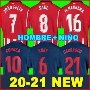 2020 قميص 2021 أتلتيكو مدريد لكرة القدم الفانيلة JOAO FELIX SAUL 20 21 Camisetas دي فوتبول موراتا رجل جيرسي الاطفال كيت DIEGO COSTA كرة القدم