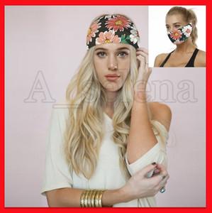 Mode féminine imprimés Fleur Yoga Bandeaux Masque multi-fonctionnel Bouche Visage Bandeau Casual Sport Hairband extérieur Foulard