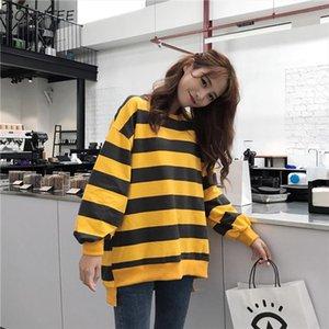 Hoodies Women Retro Striped Loose Casual Trendy Simple Soft Korean Womens Sweatshirt Student All match Long Sleeve Harajuku Chic