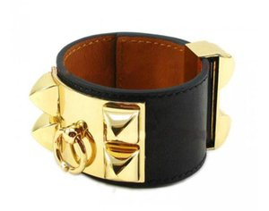 With box h flat weave leather four-studded leather designer bracelets bangle for punk mens and women couples lovers gift luxury jewelry