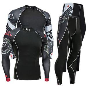 men's clothing compression men t-shirt + leggings rashgard kit long sleeves top for fitness man tracksuit thermal underwear base 200924