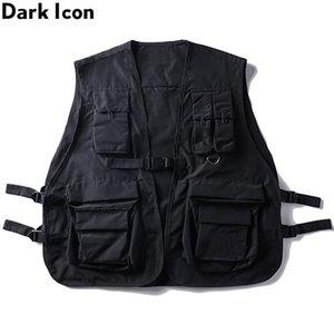 DARK ICON Pockets Men Military Sleeveless Core Hip Hop Vest Multiple Gilet Vest Cargo Jacket Streetwear Men's Dad Bhgge