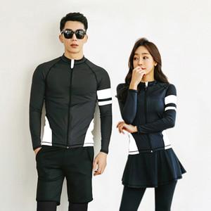 Corea diving cremallera divididas pantalones de manga larga de natación de secado rápido par medusas juego de la chaqueta de buceo traje a prueba de sol