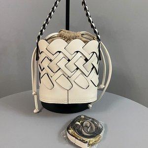 Дорожная сумка моды сумки Bucket Bag Новый стиль Woven Leather Ручка вязания шаблон Съемная сумка и наплечный ремень из натуральной кожи