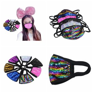 Lentejuela bling de la cubierta de Paillette máscaras niños boca de un adulto máscara protectora a prueba de polvo al aire libre respirable suave para las máscaras de algodón mujeres de la muchacha CYF4462-6