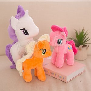 يونيكورن القطيفة الحيوانات المحنطة 22cm والمهر دمية 6 ألوان قوس قزح للأطفال ليتل الحصان لعبة لينة الأطفال هدايا GGA3653
