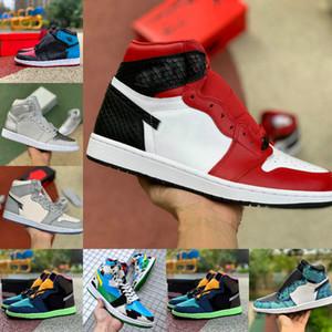Nike Air Jordan 1 JUMPMAN 1 de patente 1s 2020 zapatos de baloncesto de los hombres de mediana satén de las mujeres de la serpiente Patente teñido anudado de Tokio UNC Para