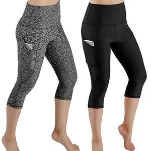 Йога наряда Брюки Женщины Высокие Леггинсы на талии с карманами Tummy Control Capris для 4-х стиль Capri Plus Размер