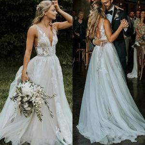 Liz Martinez Beach Brautkleider 2021 mit A-Line V-Ausschnitt Backless Plus Size Elegante Garten Land Kleinkind Brautkleider