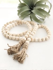 Home Decor Hanging Natural Wooden Tassel Bead String Chain Hand Made Wood Farmhouse Decoration Beads with Tassel Hemp Rope