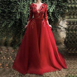 Новое Бургундия Длинное Вечернее платье с длинным рукавом блесток Цветы Дубай Кафтан Саудовская Арабская Элегантное Формальное Платье Мусульманские Вечерние Платья