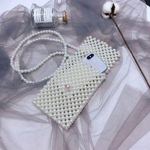 2019 Pearl Кроссбодите мобильный телефон из бисера мобильного телефона мода ручной работы из бисера сумки аксессуары мини небольшого мешка плеча ЖЕНСКОЙ