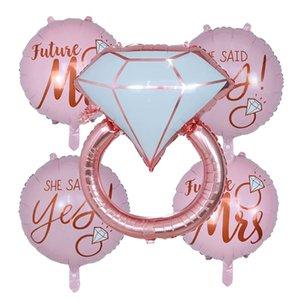 1 / 5pcs Diamond Ring Foil Balloon 22inch Rose Gold Noiva a ser o chá de panela Carta balão de casamento Decoração Engagement