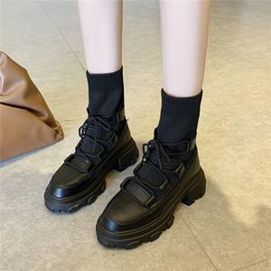 COOTELILI Женщины Ботильоны Мода обувь Круглый Toe 5 см каблука Lace Up и скольжения на платформе Black White обувь для женщин Свободный