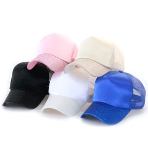 Fashion Ponytail Baseball Cap Outdoor Messy Bun Hats For Women Mesh Solid Color Snapbacks Casual Summer Sun Visor Hat FY7156