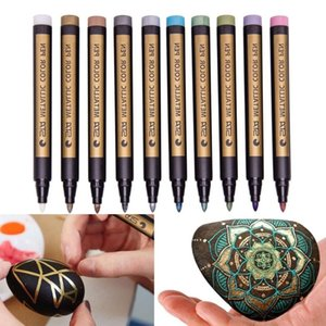 10 متنوعة الملونة المعدنية علامات الطلاء الدائم أقلام غرامة نقطة ل صخرة الزجاج المعادن الخشب الزجاج ديي ألبوم الصور drarwing Y200709