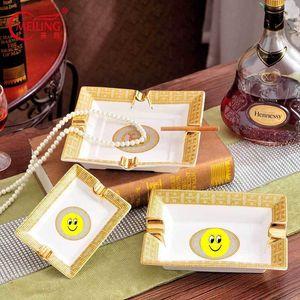Vassoio di cenere di lusso portatile ceramica grande sigaro portacenere dorato accessori per la casa tasca tasca tasca da tavola tavola da ufficio decorazione Y200429